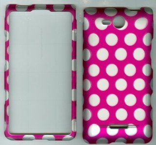 PINK WHITE POLKA DOT CAMO FACEPLATE PROTECTOR HARD RUBBERIZED CASE FOR LG OPTIMUS EXCEED VS840PP / LUCID 4G VS840 VERIZON PREPAID SNAP ON Cell Phones & Accessories