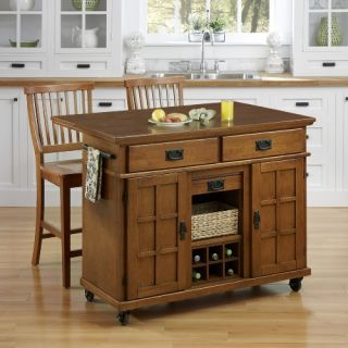 Home Styles Arts & Crafts Cottage Oak 3 Piece Kitchen Cart and Two Stools Set   Kitchen Islands and Carts