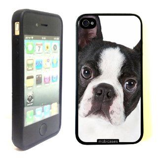 Cute Boston Terrier Dog Portrait   Protective Designer BLACK Case   Fits Apple iPhone 4 / 4S / 4G Cell Phones & Accessories