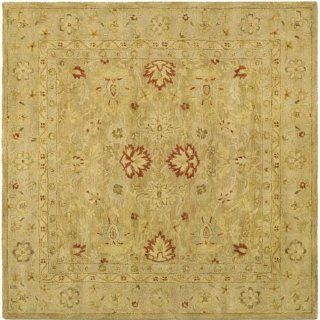 Safavieh AT822B 6SQ Antiquities Collection Handmade Light Brown and Beige Hand Spun Wool Square Area Rug, 6 Feet