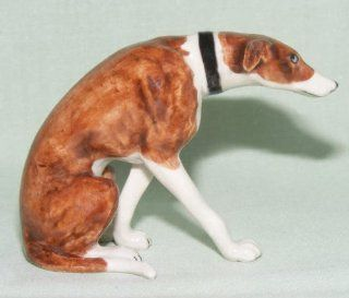 GREYHOUND Dog Brown Sits and Crouches Figurine MINIATURE New Porcelain KLIMA K846G   Collectible Figurines