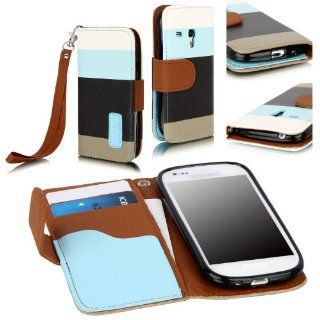 E LV Deluxe PU Leather Magnetic Flip Case Cover for Samsung Galaxy S3 Mini I8190   Blue / Black / Brown Cell Phones & Accessories