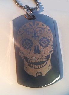 Novelty Sugar Skull Tattoo Logo   Military Dog Tag Luggage Tag Key Chain Metal Chain Necklace