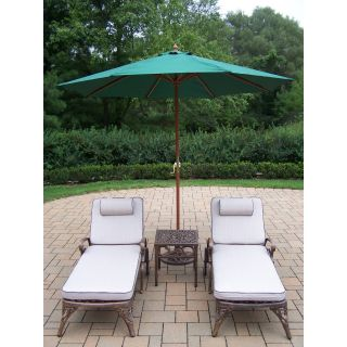 Oakland Living Elite Cast Aluminum Chaise Lounge Chat Set with Umbrella and Stand   Outdoor Chaise Lounges