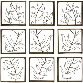 Vine Wrought Iron Indoor/Outdoor Wall Art   Set of 9   Outdoor Wall Art