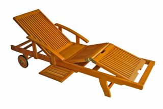 Royal Tahiti Wooden Chaise Lounge with Multi Position Deck   Outdoor Chaise Lounges