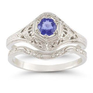 Antique Style Tanzanite Wedding Ring Set Victorian Engagement Rings For Women Jewelry