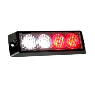 851 Red White 4 LED Emergency Strobe Light Head Waterproof Surface Mount Deck Dash Grille Automotive