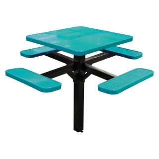 46 in. Single Post Perforated Square Commercial Grade Picnic Table with Attached Benches   Picnic Tables