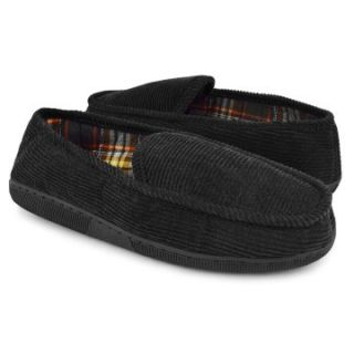 Muk Luks Men's Corduroy Moccasin Slippers with Flannel Lining   Black   Mens Slippers