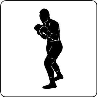 BOXING WALL DECAL REMOVABLE WALL STICKER ART BOXING DECOR, MATTE, BLACK