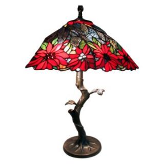 Tiffany Style Tree Base Lamp with Poinsettia Shade   Table Lamps