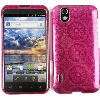 CELL PHONE CASE COVER FOR LG MARQUEE / MAJESTIC LS 855 TRANS HOT PINK CIRCULAR PATTERNS Cell Phones & Accessories