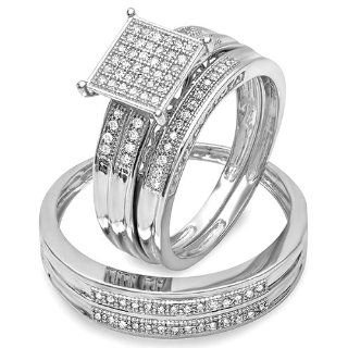 0.25 Carat (ctw) Sterling Silver Round White Diamond Men & Womens Micro Pave Engagement Ring 3 pc Trio Bridal Set Wedding Ring Sets Jewelry