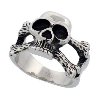 Surgical Steel Biker Skull Ring and Cross Bones 5/8 inch long, sizes 9   15 Jewelry
