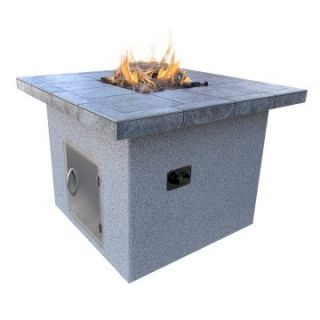 Cal Flame Stucco and Tile Dining Height Square Gas Fire Pit   Fire Pits