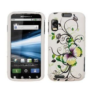 Black Vine Flower Green Butterfly Pattern Rubber Feel 2 Piece Snap On Hard Cover Faceplate Protector for Motorola Atrix 4G MB860 Smartphone /AT&T + Dragoncell Screen Protector Cell Phones & Accessories
