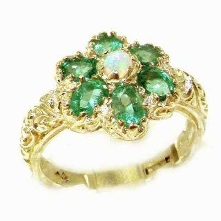 Solid 14K Yellow Gold Fiery Opal & Emerald Women Art Nouveau Flower Ring   Finger Sizes 5 to 12 Available   Perfect Gift for Birthday, Christmas, Valentines Day, Mothers Day, Mom, Mother, Grandmother, Daughter, Graduation, Bridesmaid. Jewelry