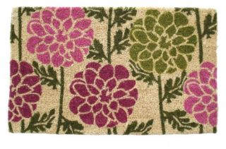 Dahlias 18 x 30 Hand Woven Coir Doormat   Outdoor Doormats