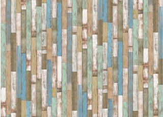 Vintage Art wood texture Wallpaper, 18 Inch by 197 Inch, Bright blue multi