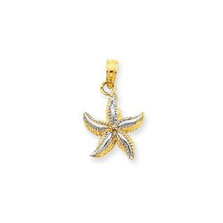 12mm Two Tone Starfish Pendant In 14 Karat Yellow Gold And Rhodium Jewelry