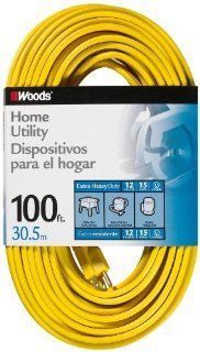 Woods 839 SPT 3 12/3 Flat Utility Extension Cord, Yellow, 100 Foot