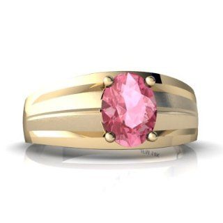 Lab Pink Sapphire 14kt Yellow Gold mens Ring Jewels For Me Jewelry