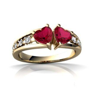 Lab Ruby 14kt Yellow Gold modern Ring Jewels For Me Jewelry