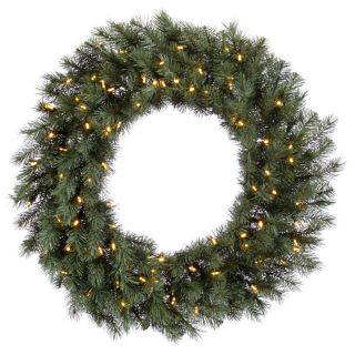 Blue Albany Spruce Pre Lit LED Wreath   Christmas Wreaths
