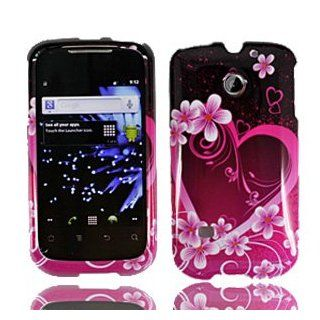 For Cricket Huawei Ascent II M865 Accessory   Purple Heart Design Hard Case Cover Cell Phones & Accessories