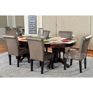 BBO Poker Tables Rockwell 8 Piece Dining Table Set with Premium Chairs   Poker Tables