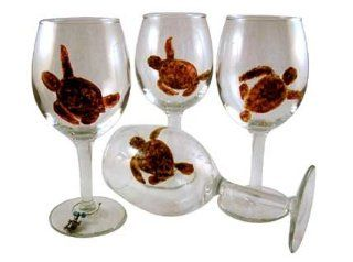 ArtisanStreet's Set of 4 Wine Glasses with Sea Turtle Design. Hand Painted. One of a Kind. Kitchen & Dining