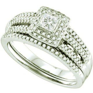 0.52 Carat (ctw) 14k White Gold Round & Princess Cut White Diamond Ladies Halo Style Bridal Engagement Ring Set Jewelry