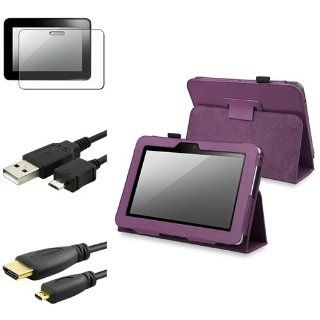 eForCity Purple w/ stand Case + Matte LCD Film Guard Protector + USB Charger Cable + 3FT HDMI compatible with Kindle Fire HD 7 Computers & Accessories