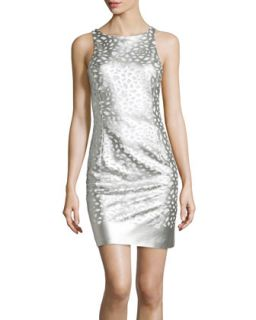 Faux Leather Lasercut Mesh Sheath Dress, Silver
