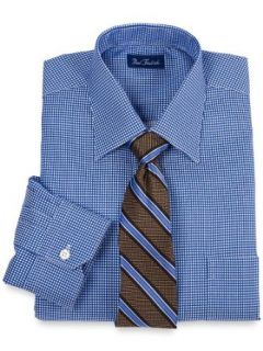 Paul Fredrick Men's 2 Ply Cotton Textured Check Spread Collar Dress Shirt Blue/white 20.0/37 at  Men�s Clothing store