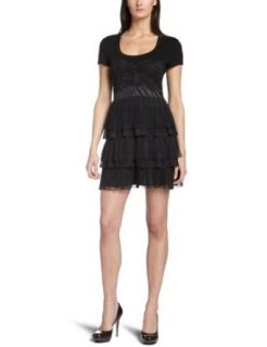Nicole Miller Women's Ruffle Dress, Black, 0