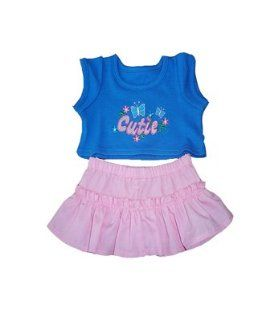 "Blue and Pink Cutie Outfit Teddy Bear Clothes Fits Most 14""   18"" Build a bear, Vermont Teddy Bears, and Make Your Own Stuffed Animals Toys & Games"