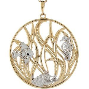 14k Two Tone Gold Seahorse Seashell Fish Sea Life Collection Pendant Jewelry