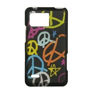 Colorful Peace Sign On Black Premium Design Snap On Hard Cover Case for Motorola XT875 Droid Bionic / Targa (Verizon) + Luxmo Brand Travel Charger Cell Phones & Accessories