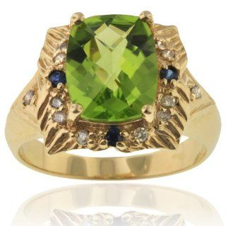 Michael Valitutti 14K Yellow Gold Peridot & Diamond Ring   SIZE 6 Michael Valitutti Jewelry