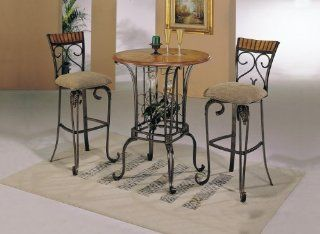 Bar Height Dining Table Set Swivel Chairs Venetian 3 Piece Home & Kitchen