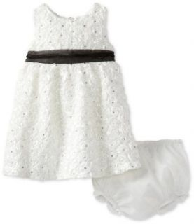 Rare Editions Baby Baby girls Infant Soutach Dress With Black Organza Waistband, Ivory, 12 Months Clothing