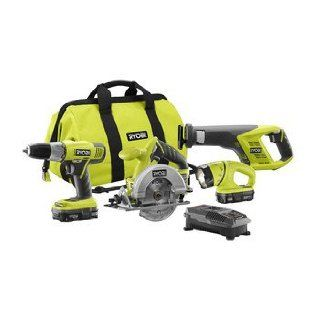 Factory Reconditioned Ryobi ZRP883 ONE Plus 18V Lithium Ion 4 Tool Super Combo Kit   Power Tool Combo Packs