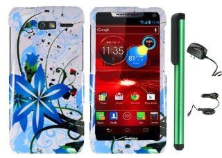"Splash ink Painting Blue Flower Waving In Wind On White Premium Design Protector Hard Cover Case for Motorola DROID RAZR M XT907 (Verizon) + Luxmo Brand Travel (Wall) Charger & Car Charger + Combination 1 of New Metal Stylus Touch Screen Pen (4"" H"