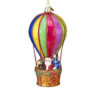 Kurt Adler Noble Gems Santa Hot Air Balloon Christmas Ornament   Decorative Hanging Ornaments