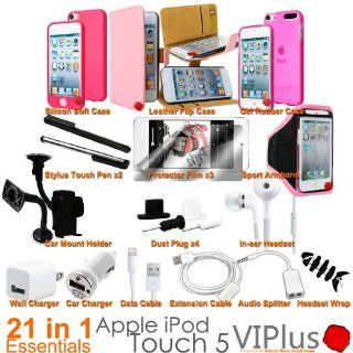 Generic 21in1 Pack Accessory Bundle Kit for Apple iPod Touch 5 Leather Gel Case Holder Pink Cell Phones & Accessories