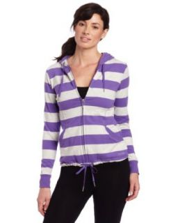 Calvin Klein Performance Women's Rugby Stripe Hoodie, Pansy/Bone Heather, X Small Clothing