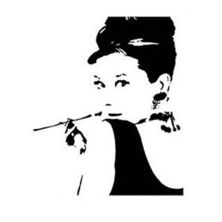 NAVA Large Modern Black Audrey Hepburn Pop Art Wall Decals Stickers Vinyl Removable   Wall Decor Stickers