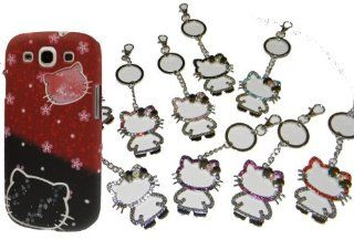 GALAXY S3 HELLO KITTY FACES RED & BLACK + HELLO KITTY KEYCHAIN (COLOR CHOSEN AT RANDOM) Cell Phones & Accessories